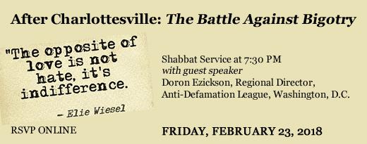 After Charlottesville: The Battle Against Bigotry Shabbat Dinner