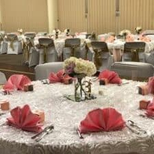 Temple Shalom Social Hall decorated for life cycle celebration